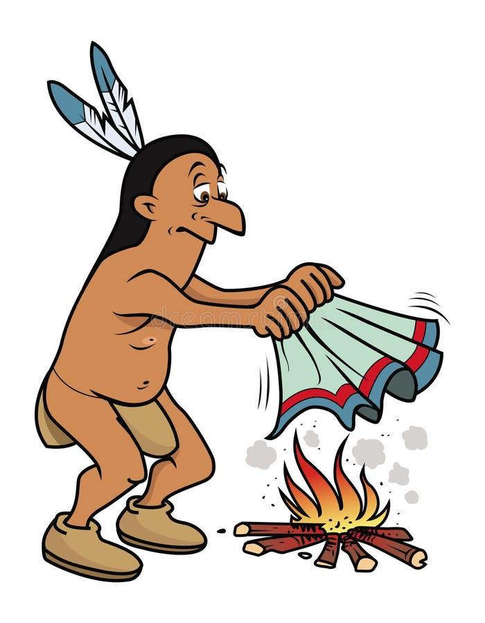 Indian que faz sinais de fumo ilustração do vetor