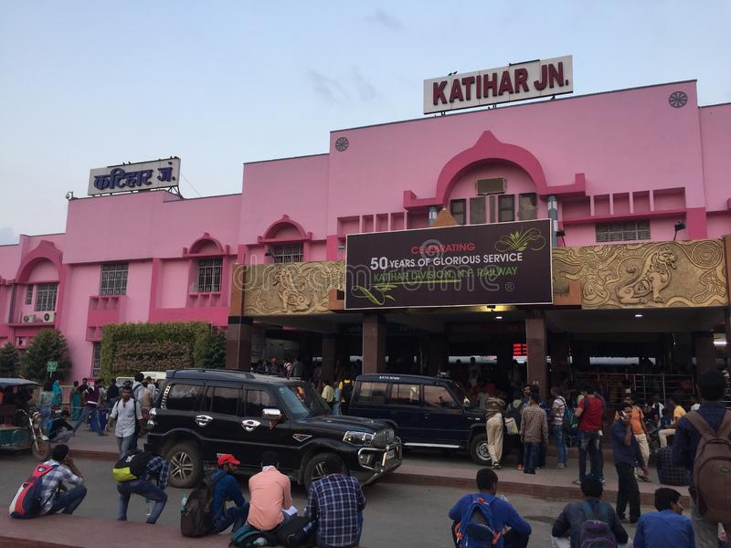 Indian Railway 🚃 station 🚉 looks beautiful in pink colour in bihar rear in a different angle  view. Indian Railway 🚃 station 🚉 royalty free stock image