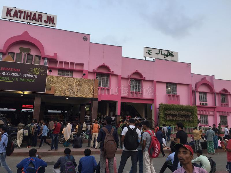 Indian Railway 🚃 station 🚉 looks beautiful in pink colour in bihar side view. Indian Railway 🚃 station 🚉 looks beautiful in pink royalty free stock photo