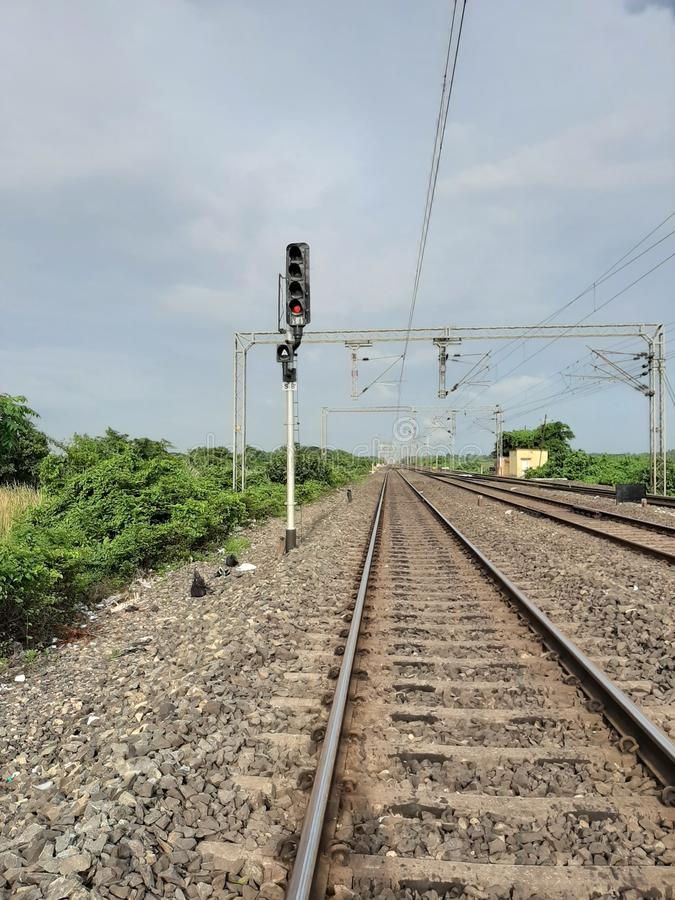 Indian railway signal background photo clear pic. Indian railway signal pics with clear background and rail track images royalty free stock image