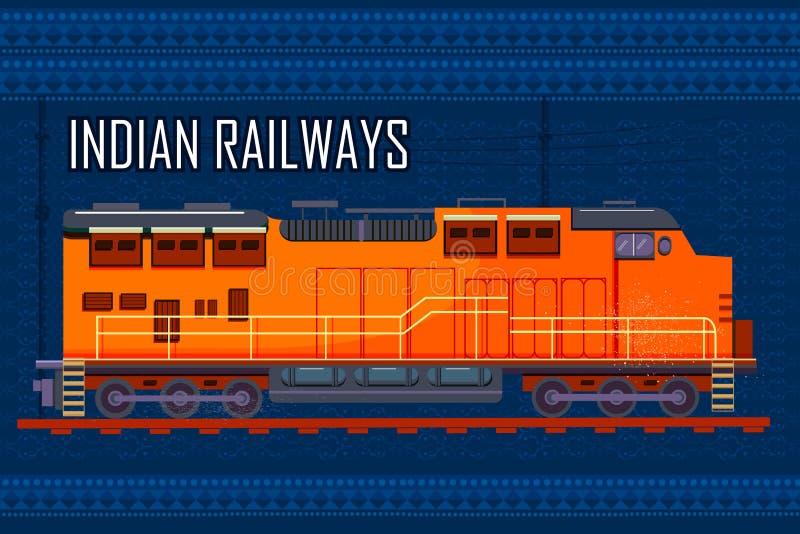 Indian Railway Train representing colorful India stock illustration