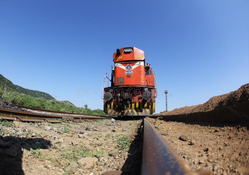 Indian Railways Engine. An Indian Railways train engine ready to roll royalty free stock photo