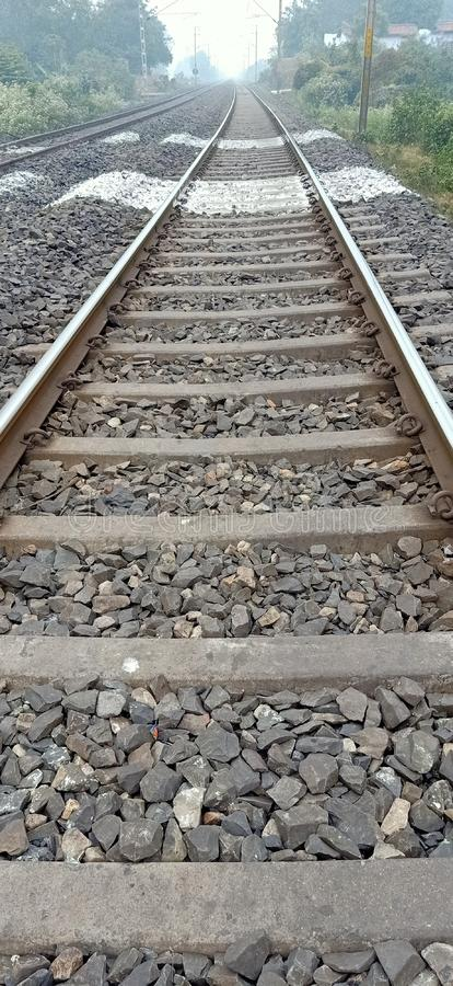 Indian railways track. India is the railway line of Bokaro district of Jharkhand state of the country, which looks very beautiful to see stock photos