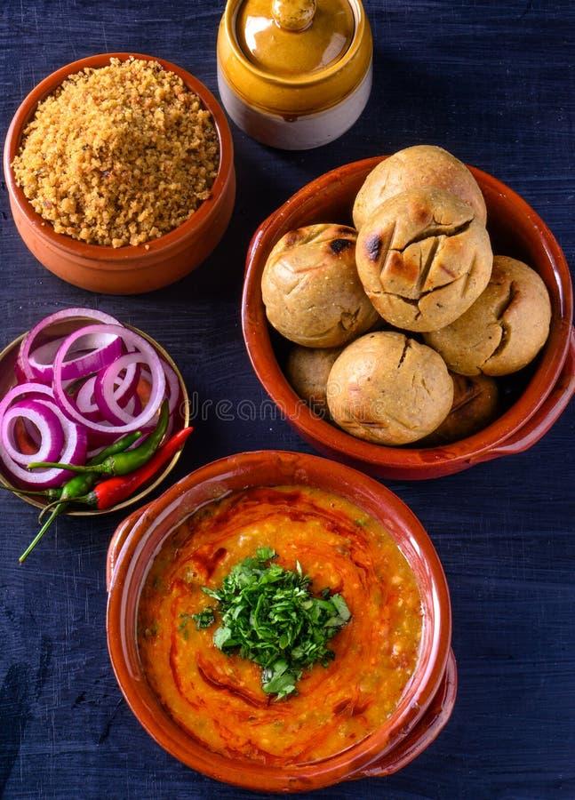 Free Indian Rajasthani Meal-Dal Baati Churma Stock Images - 158606454