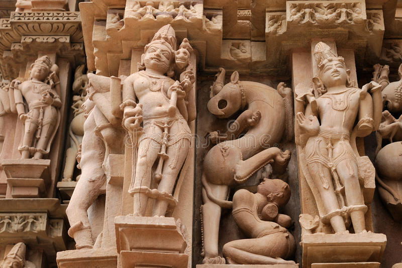 Indian Religious Symbols On Temples In Khajuraho Stock Photo Image