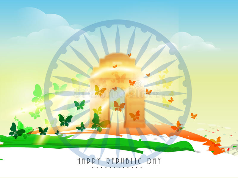 Indian Flag Butterflies: Indian Republic Day Celebration Concept. Stock
