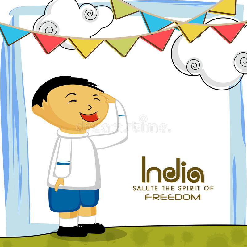 Indian Republic Day celebration with cute boy. stock illustration