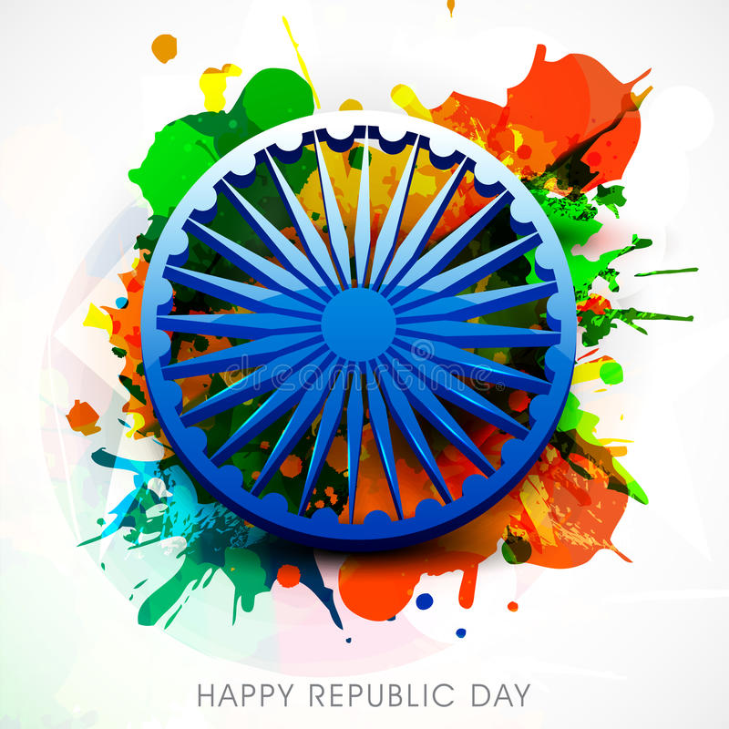 Indian Republic Day celebrations with Ashoka Wheel. Shiny Ashoka Wheel on color splash background for Happy Indian Republic Day celebrations concept stock illustration