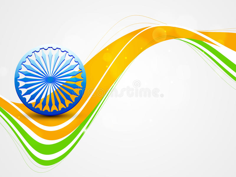 Indian Republic Day celebrations with Ashoka wheel. Shiny Ashoka Wheel on national flag colors wave for Indian Republic Day and Independence Day celebrations stock illustration