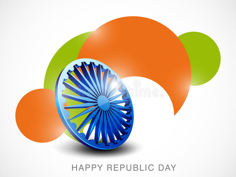Indian Republic Day celebrations with Ashoka Wheel. Shiny Ashoka Wheel on national tricolor background for Indian Republic Day celebrations concept stock illustration
