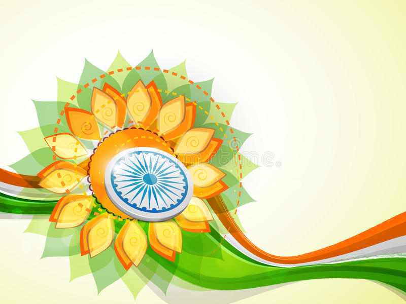 Indian Republic Day and Independence Day celebrations concept. Indian Republic Day and Independence Day celebrations with Ashoka Wheel on floral design and stock illustration