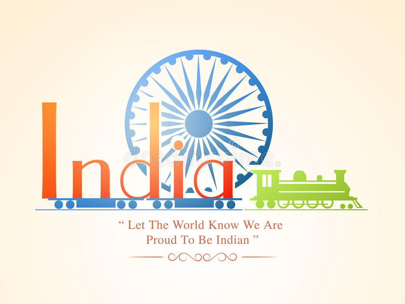 Indian Republic Day and Independence Day celebrations concept. Colorful text India on train with Ashoka Wheel for Indian Republic Day and Independence Day vector illustration