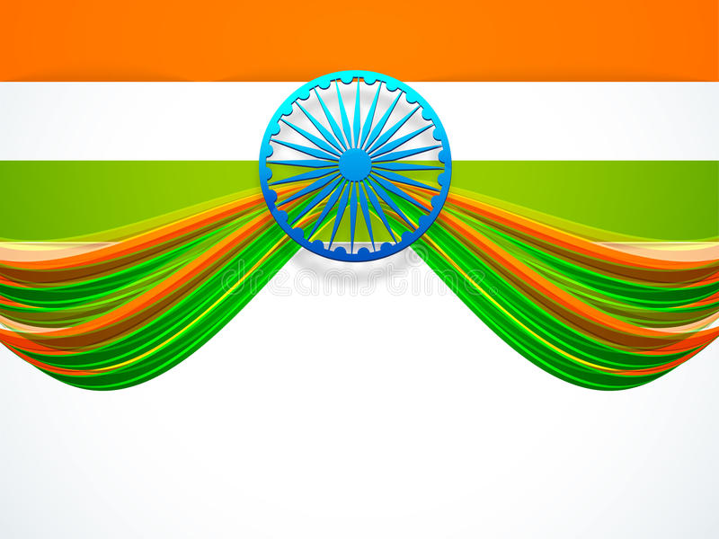 Indian Republic Day and Independence Day celebrations concept. Creative design of National Flag with 3D Ashoka Wheel on white background for Indian Republic Day vector illustration