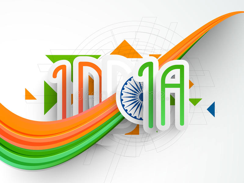 Indian Republic Day and Independence Day celebrations concept. Creative text India with Ashoka Wheel and waves in national tricolor on hi-tech background for stock illustration