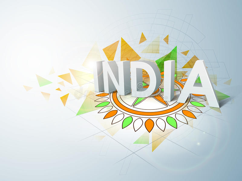 Indian Republic Day and Independence Day celebrations concept. 3D text India on colorful floral rangoli in national flag colors for Indian Republic Day and stock illustration
