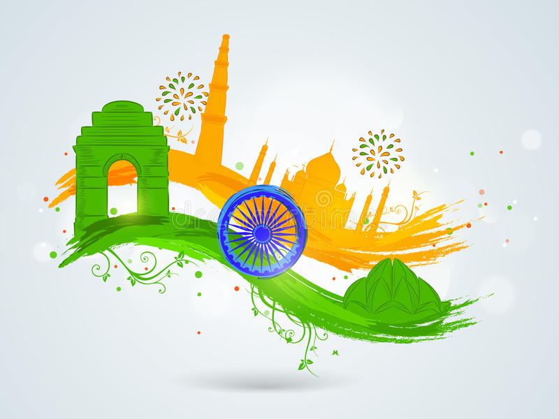 Indian Republic Day and Independence Day celebrations concept. Famous Indian monuments with Ashoka Wheel on floral decorated paint stroke in national flag royalty free illustration