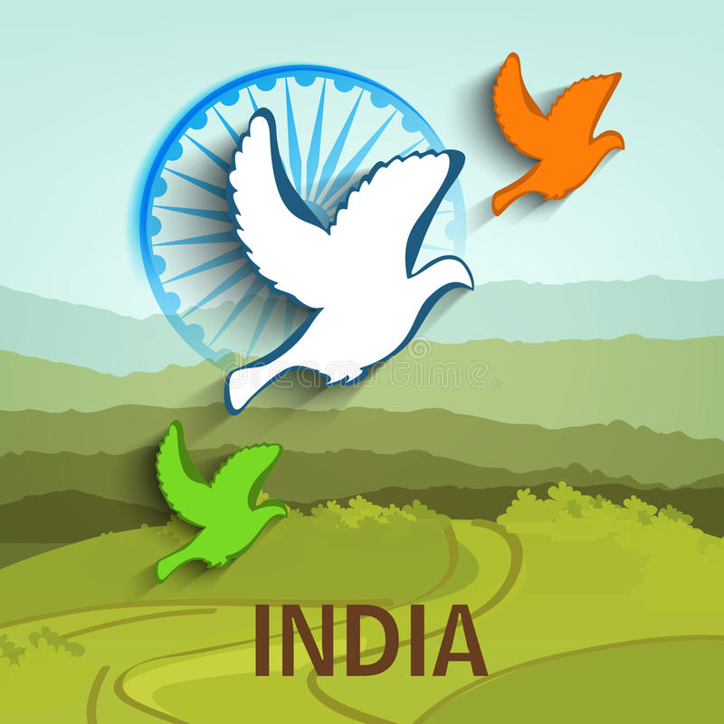 Indian Republic Day and Independence Day celebrations concept. Flying pigeons in national flag colors with Ashoka Wheel on nature view background for Indian royalty free illustration