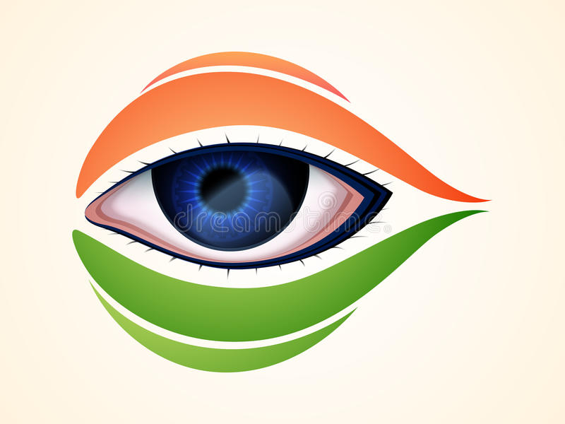 Indian Republic Day and Independence Day celebrations concept. Human eye with national flag colors for Indian Republic Day and Independence Day celebrations stock illustration