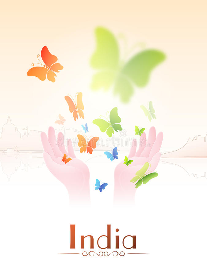 Indian Republic Day and Independence Day celebrations concept. Human hands flying butterflies in national flag colors for Indian Republic Day or Independence stock illustration