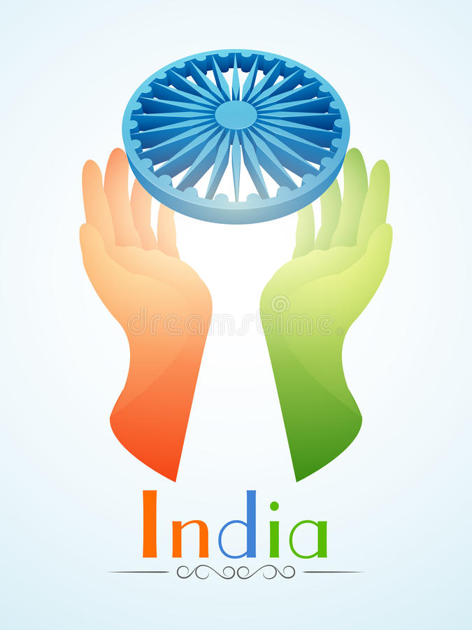 Indian Republic Day and Independence Day celebrations concept. Human hands in saffron and green colors protecting Ashoka Wheel on blue background for Indian vector illustration