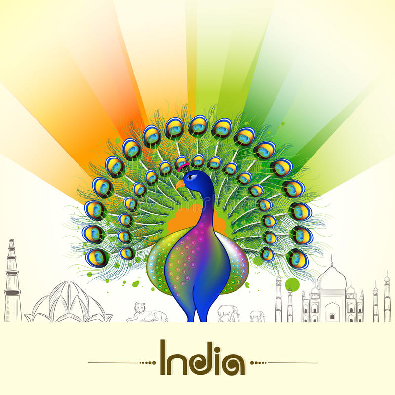 Indian Republic Day and Independence Day celebrations concept. Indian Republic Day and Independence Day celebrations with National Bird Peacock, animals and vector illustration