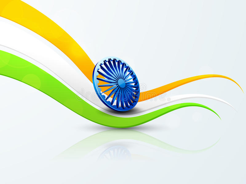 Indian Republic Day and Independence Day celebrations concept. Shiny Ashoka Wheel on national flag colors wave for Indian Republic Day and Independence Day stock illustration
