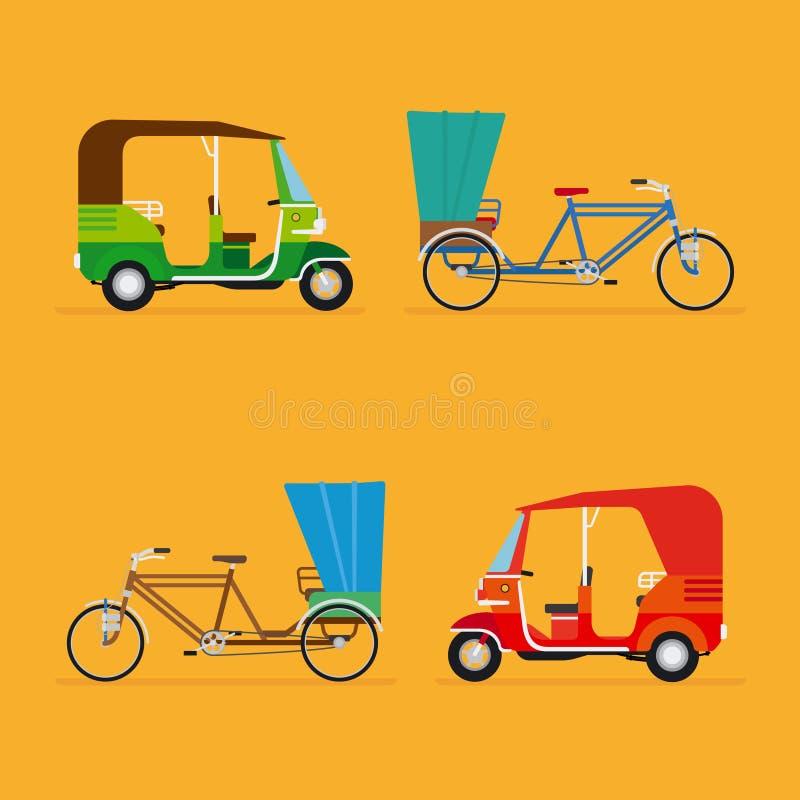 Indian rickshaw. Auto rickshaw and pedicab royalty free illustration