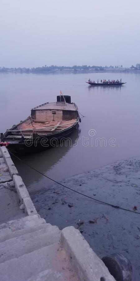 Indian River beauty in afternoon. And a boat is there on the river `s bank stock photography
