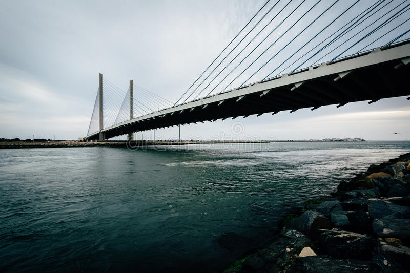 The Indian River Bridge over the Indian River Inlet near Bethany royalty free stock image