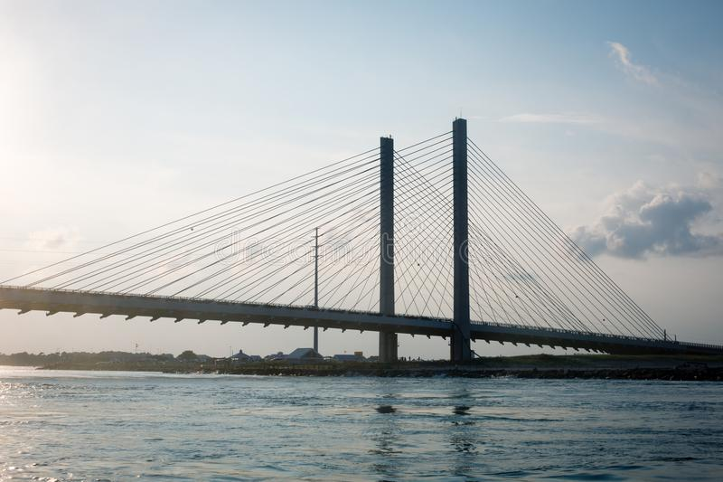 Indian River Inlet Bridge at sunset royalty free stock photography