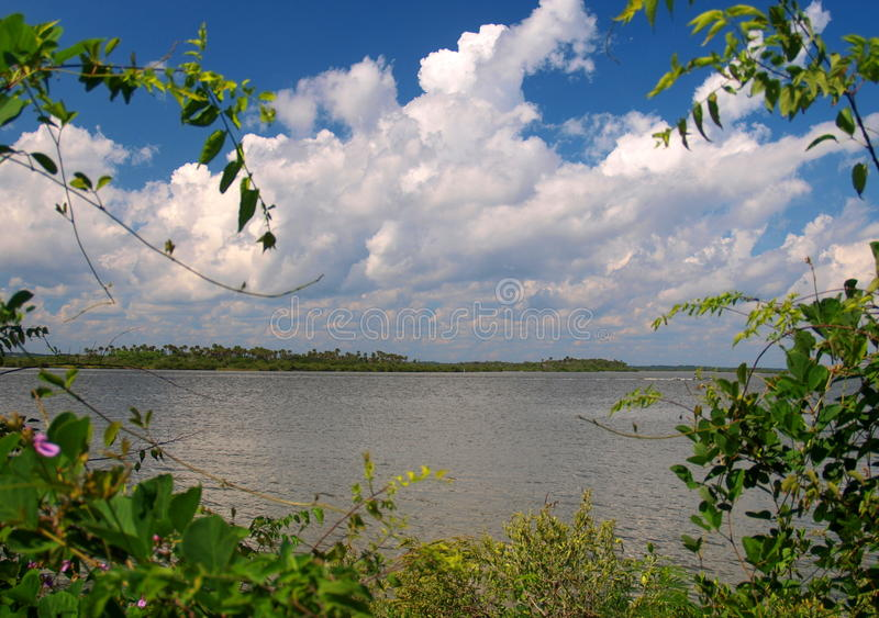 Indian River Lagoon. Canaveral National Seashore sits between New Smyrna Beach and Titusville, Florida and is located on a barrier island that is separated from royalty free stock photos