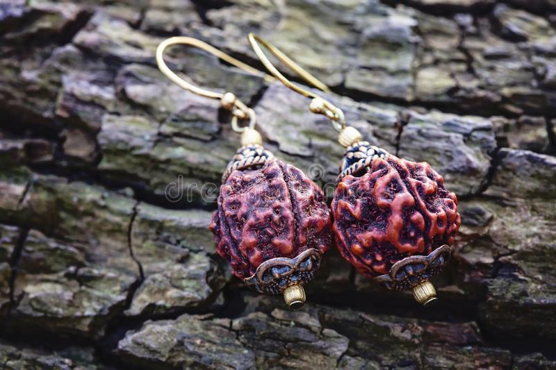 Indian Rudraksha earrings on natural background royalty free stock photography