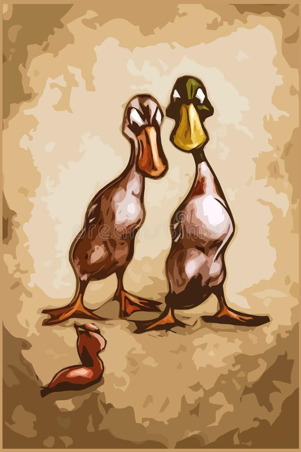 Indian Runner duck couple - ducks versus slug - cartoon stock illustration