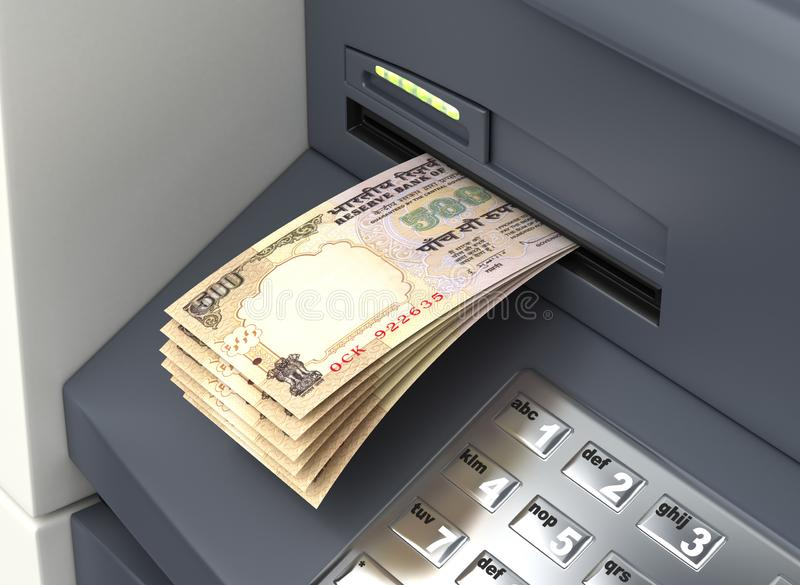 Indian Rupee From The ATM stock illustration
