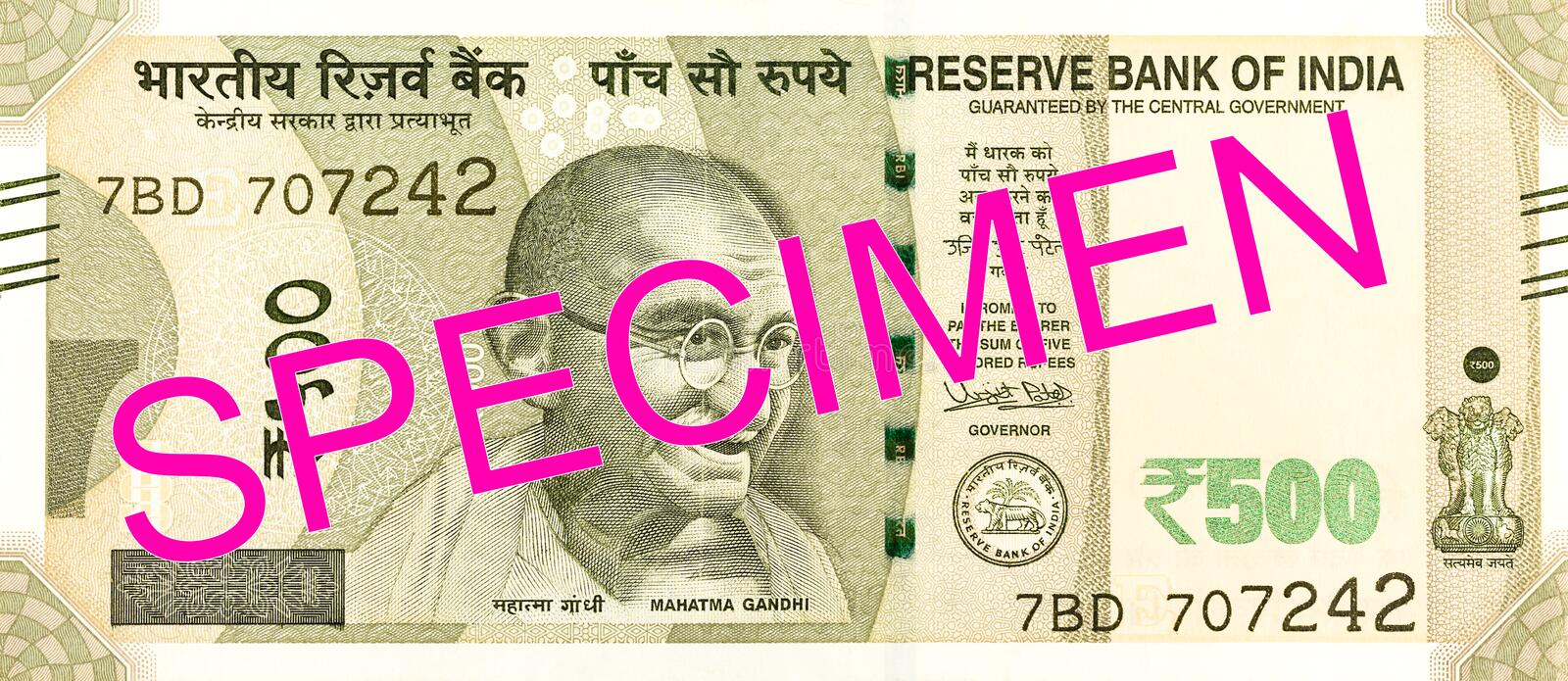 500 indian rupee bank note obverse. Specimen royalty free stock images