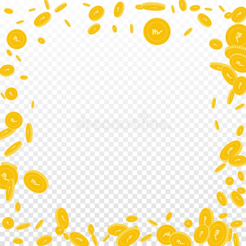 Indian rupee coins falling. Scattered disorderly I. NR coins on transparent background. Overwhelming chaotic border vector illustration. Jackpot or success vector illustration