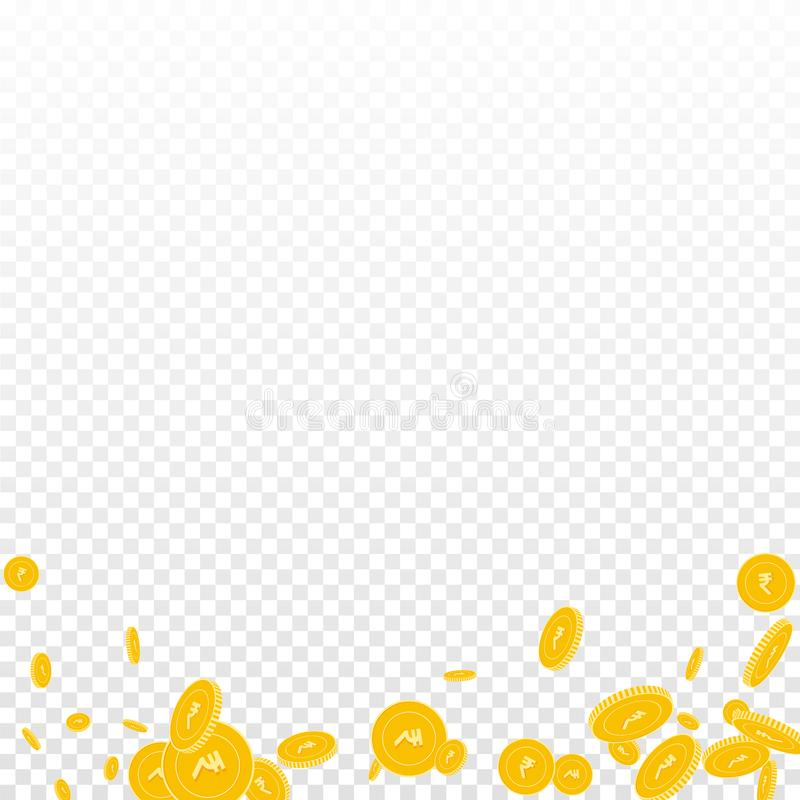 Indian rupee coins falling. Scattered disorderly I. NR coins on transparent background. Resplendent abstract bottom vector illustration. Jackpot or success stock illustration