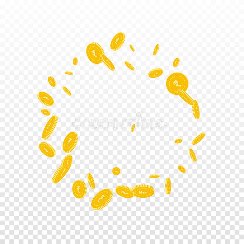 Indian rupee coins falling. Scattered disorderly I. NR coins on transparent background. Divine round frame vector illustration. Jackpot or success concept royalty free illustration