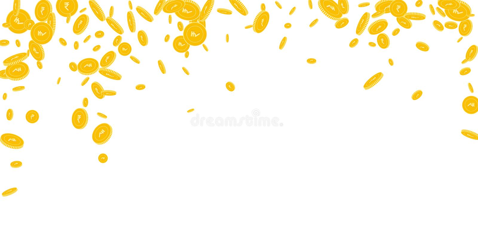 Indian rupee coins falling. Scattered disorderly I. NR coins on white background. Indelible falling rain vector illustration. Jackpot or success concept stock illustration