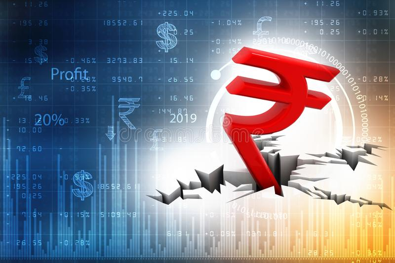 Red Indian Rupee Symbol Down to Ground, Indian Rupee crisis concept. 3D rendering  on white background. Indian Rupee crisis concept, Red Indian Rupee Symbol Down stock illustration