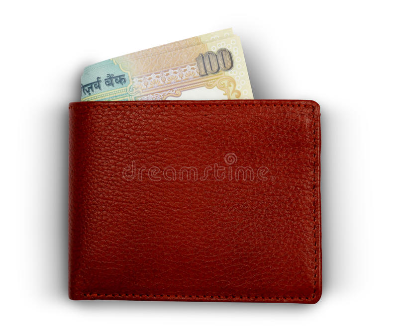 Indian 100 Rupee Curreny Notes in a Wallet. On white background stock photo