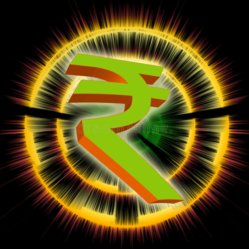 Indian rupee symbol. In 3d with black background and rays vector illustration