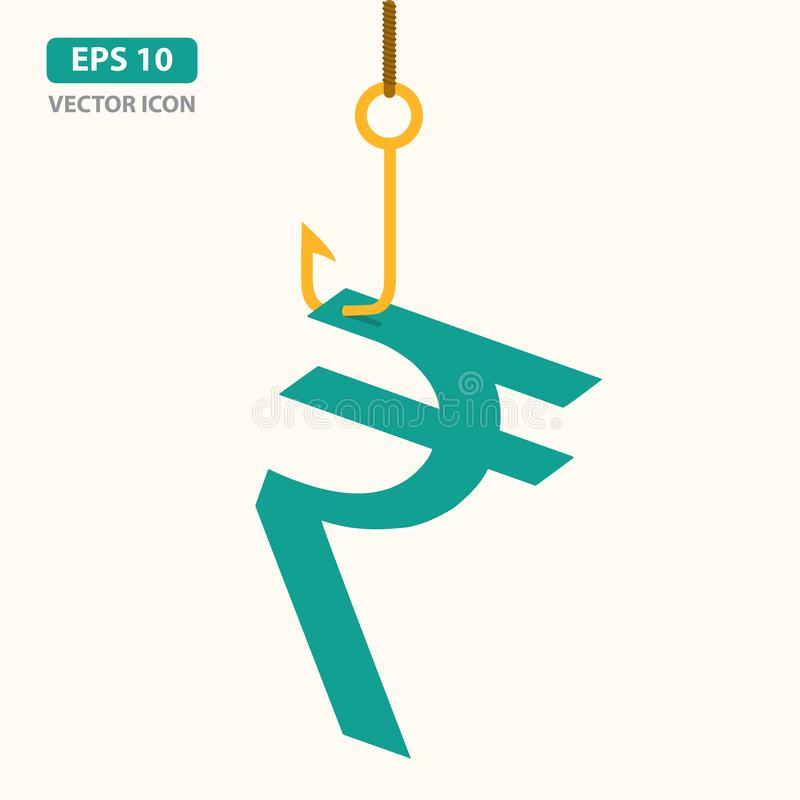 Indian Rupee symbol picked by fishing hook. Business success, big profit, growth and investment, making money concept. Vector Illu stock illustration