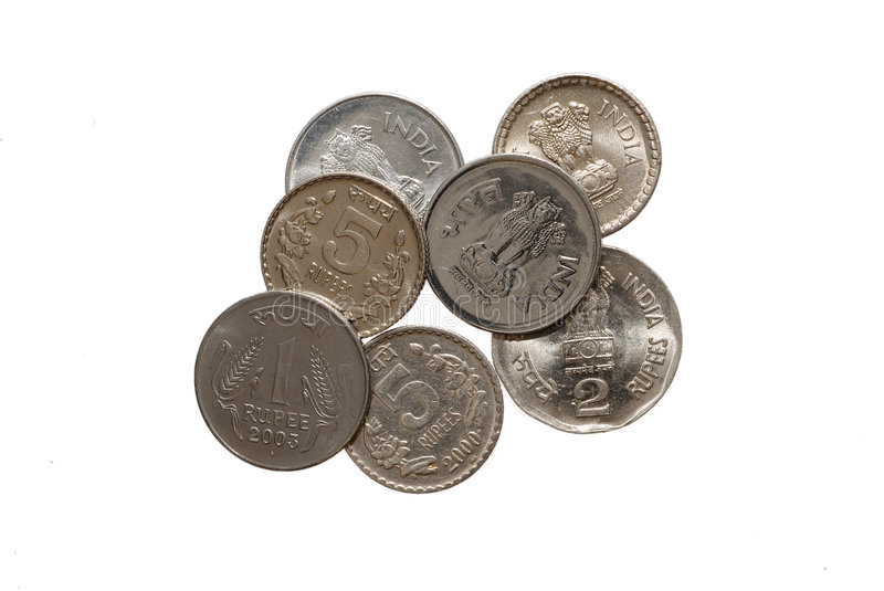 Indian rupees. Indian coins - 1, 2 and 5 rupees on white background royalty free stock images