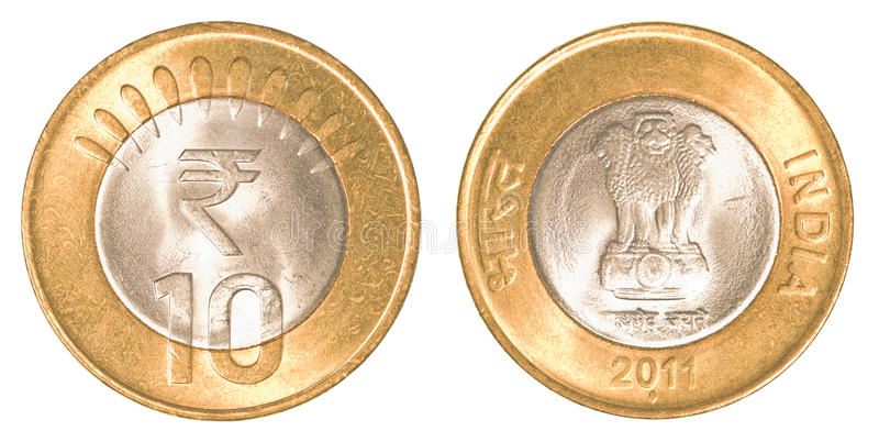 10 indian rupees coin. Isolated on white background stock photos