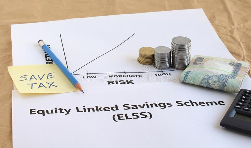 Indian Rupees Investment in Equity Linked Savings Scheme Concept royalty free stock image