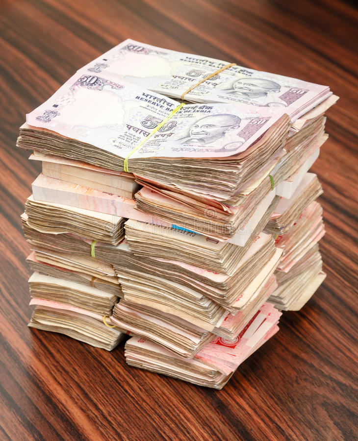 Indian rupees stack. Stack of Indian rupees on a table royalty free stock photo