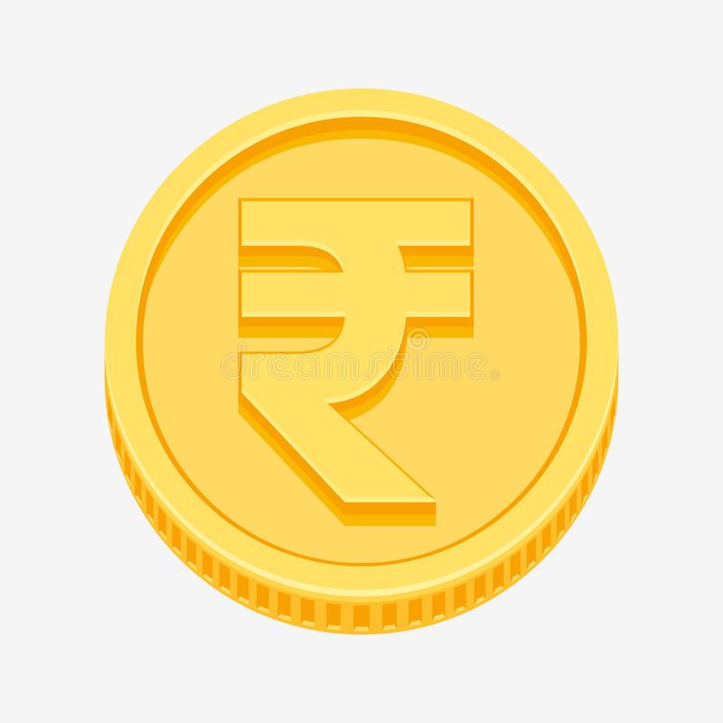 Indian Rupees Symbol On Gold Coin Stock Vector Illustration Of