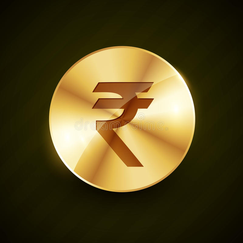 Indian ruppe gold coin with shiny effects royalty free illustration