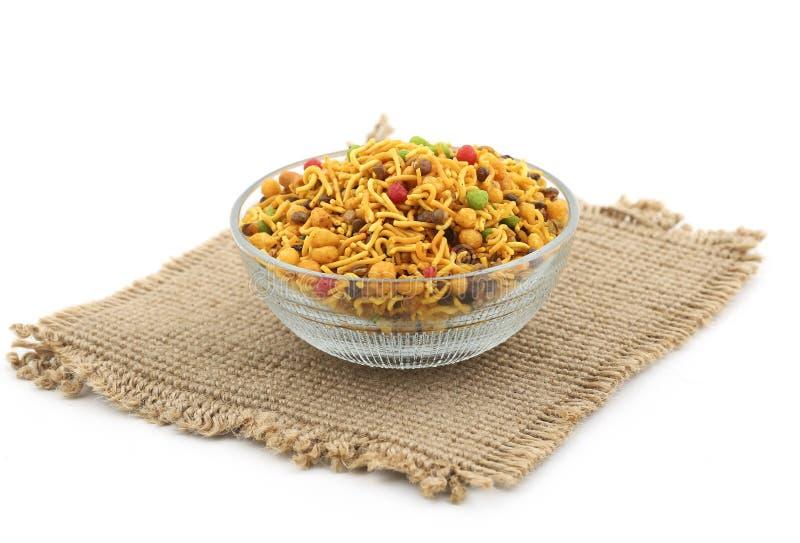 Mix Namkeen Food. Indian Salty Food Mix Namkeen stock photo